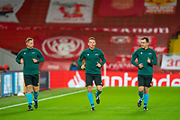 Football - 2020 / 2021 Champions League - Group D - Liverpool vs FC Midtjylland - Anfield<br /> <br /> UEFA match officials during the pre-match warm-up <br /> <br /> COLORSPORT/TERRY DONNELLY