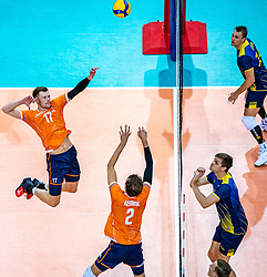 Wessel Keemink of Netherlands, Michael Parkinson of Netherlands in action during the CEV Eurovolley 2021 Qualifiers between Sweden and Netherlands at Topsporthall Omnisport on May 14, 2021 in Apeldoorn, Netherlands