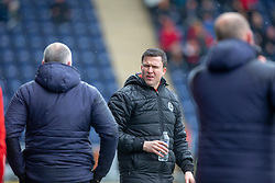 Partick Thistle's manager Gary Caldwell reacts to the Falkirk bench after Falkirk's Zak Rubben was tackled by Partick Thistle's Steven Saunders. Falkirk 1 v 1 Partick Thistle, Scottish Championship game played 16/3/2019 at The Falkirk Stadium.