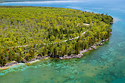 Aerial view of Cave Point County Park, Door County, Wisconsin.