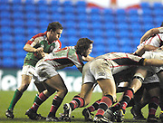 Reading, GREAT BRITAIN, [L] Exiles, Paul HODGSON and Issac BOSS, at the scrum, during the third round Heineken Cup game, London Irish vs Ulster Rugby, at the Madejski Stadium, Reading ENGLAND, Sat., <br /> 09.12.2006. [Photo Peter Spurrier/Intersport Images]
