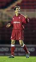 Photo. Jed Wee<br />Middlesbrough v Bradford Reserves, The Riverside, Middlesbrough. 25/02/2003.<br />All smiles: Middlesbrough's Juninho makes his long awaited return to football.