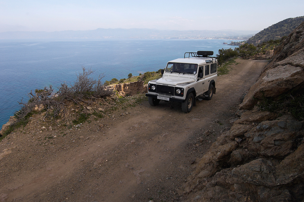 A Landrover on a bad road on Akamas Peninsula, Cyprus