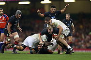 Kristian Dacey of Wales is tackled by Georgia's Levan Chilachava ®. Under Armour 2017 series Autumn international rugby, Wales v Georgia at the Principality Stadium in Cardiff , South Wales on Saturday 18th November 2017. pic by Andrew Orchard, Andrew Orchard sports photography