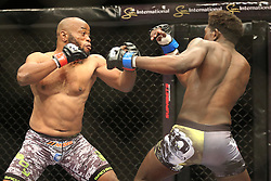 Pope Djembo (Red) and Regis Muyambo (Blue) during the Mixed Martial Arts Extreme Fighting Championships, EFC 52 held at the Grand West Casino in Cape Town, South Africa on the 5th August 2016<br /> <br /> Photo by:   Shaun Roy / Real Time Images