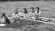 Kingston on Thames, United Kingdom.   Oxford Univesity Women's BC. Stroke Ali GILL. The final Round of the Leyland Daf Sprint series, at Kingston RC on the River Thames, Surrey, England, <br /> <br /> Saturday 04.05.1987<br /> <br /> [Mandatory Credit; Peter Spurrier/Intersport-images] 1987 Leyland Daf Sprints, Kingston. UK