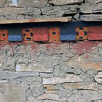 Asia, Bhutan, Thimpu. Typical architectural detail in preserved adobe building in Thimpu.