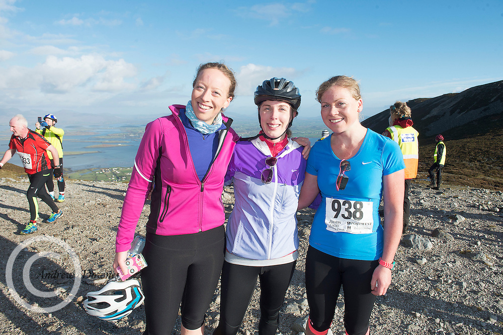 08/11/2014 repro free  Sheila Duggan, Aoife Hogarty  and Fiona Duggan from Dublin on Croagh Patrick  in the Sea 2 Summit adventure race in Westport Co. Mayo. Photo:Andrew Downes