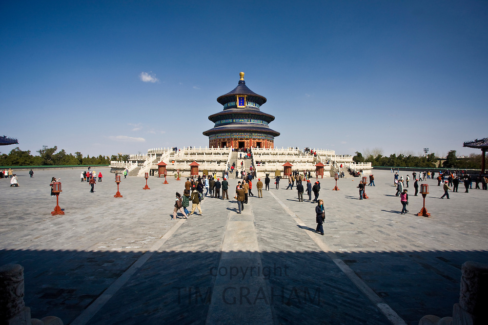 Tourists visit Hall of Prayer for Good Harvest, Qinian Dian, at the Ming Dynasty Temple of Heaven, Beijing, China
