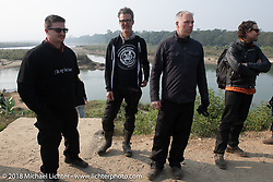 Chris, Corey, Denver Joe and Grant along the East Rapti River in Chitwan National Park for our Himalayan Heroes adventure day-3 ride from Chitwan to Pokhara, Nepal. Thursday, November 8, 2018. Photography ©2018 Michael Lichter.
