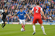 Portsmouth Midfielder, Matty Kennedy (11) takes on Fleetwood Town Defender, Lewie Coyle (2) during the EFL Sky Bet League 1 match between Portsmouth and Fleetwood Town at Fratton Park, Portsmouth, England on 16 September 2017. Photo by Adam Rivers.
