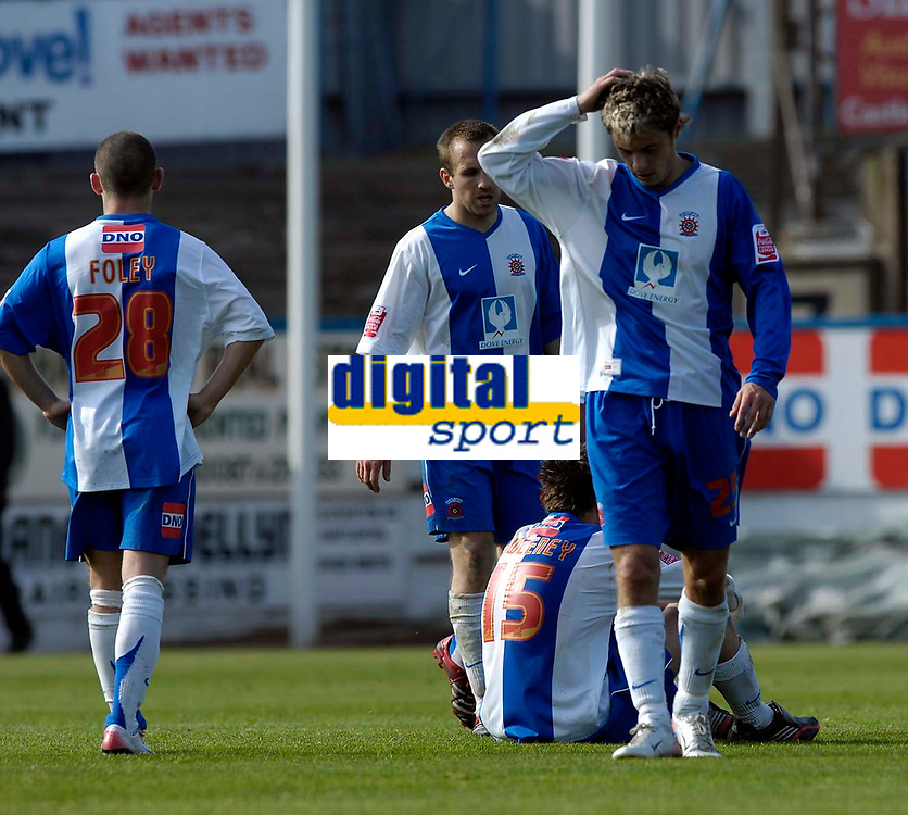 Photo: Jed Wee/Sportsbeat Images.<br /> Hartlepool United v Bristol Rovers. Coca Cola League 2. 05/05/2007.<br /> <br /> Hartlepool players show their dejection as they let the championship slip through their fingers.