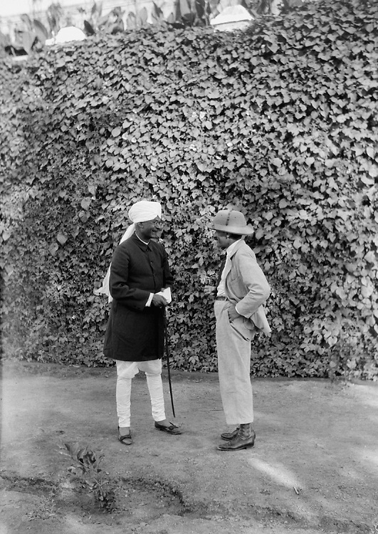 E.O. Hoppe Talking to Officer at State Guest House, Udaipur, India, 1933