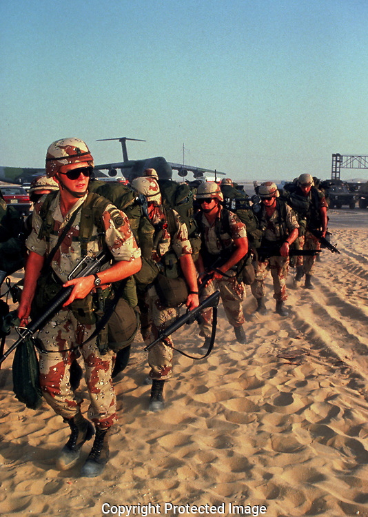 """Some of the first US. Troops arriving Saudi Arabia  in August  1990 shortly after President George Bush said , """"This will not stand"""" to the invasion of Kuwait. Photo by Dennis Brack"""