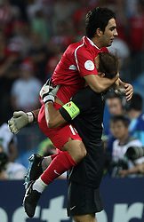 Arda Turan and goalkeeper of Turkey Recber Rustu celebrate during penalty shots during the UEFA EURO 2008 Quarter-Final soccer match between Croatia and Turkey at Ernst-Happel Stadium, on June 20,2008, in Wien, Austria.  (Photo by Vid Ponikvar / Sportal Images)