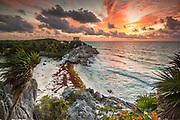 Sunrise at the Pre-Columbian Maya site of Tulum.