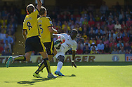 BafetimbiGomis of Swansea City takes a volley shot for goal. Barclays Premier League, Watford v Swansea city at Vicarage Road in London on Saturday 12th September 2015.<br /> pic by John Patrick Fletcher, Andrew Orchard sports photography.