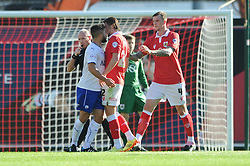 Bristol City's Luke Ayling clashes with Chesterfield's Sam Morsy - Photo mandatory by-line: Dougie Allward/JMP - Mobile: 07966 386802 - 11/10/2014 - SPORT - Football - Bristol - Ashton Gate - Bristol City v Chesterfield - Sky Bet League One