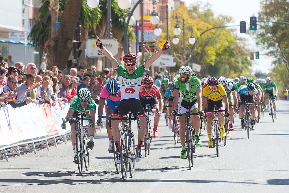 MAZARRON, ESPANA - 1 DE MARZO: Egoitz Fernandez celebra su victoria en la segunda etapa de la Vuelta Ciclista Costa Calida 2015 el domingo 1 de marzo de 2015 en Mazarron, Murcia, Espana. (Photo by Aitor Bouzo)