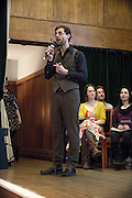 Dr Bramwell is talking during The Sunday Assembly (today held inside Conway Hall in central London), an atheist service founded by British comedians Sanderson Jones and Pippa Evans in 2013, in London, England. The gathering is designed to bring together non-religious people who want a similar communal experience to a religious church. Satellite assemblies have been established in over 30 cities including New York, San Diego, and Dublin.