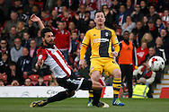Ross McCormack of Fulham takes a shot at goal which hits the post. Skybet football league championship match, Brentford  v Fulham at Griffin Park in London on Saturday 30th April 2016.<br /> pic by Steffan Bowen, Andrew Orchard sports photography.