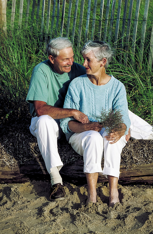Senior couple at the beach, Cape Cod, MA