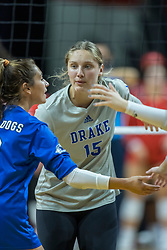 BLOOMINGTON, IL - October 23: Kacie Rewerts during a college Women's volleyball match between the ISU Redbirds and the Drake Buldogs on October 23 2021 at Illinois State University in Normal, IL. (Photo by Alan Look)