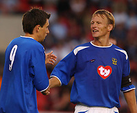Pre Season Friendly<br />16/07/2003<br />St James Park<br />Svetoslav Todorov celebrates scoring with new team mate Teddy Sheringham during the game at the Fitness First Satdium.