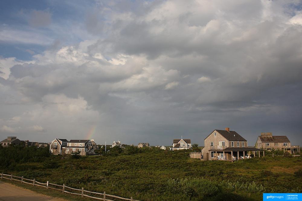 Beachside properties near the coastline at Cisco Beach, Nantucket, Nantucket Island, Massachusetts, USA. Photo Tim Clayton