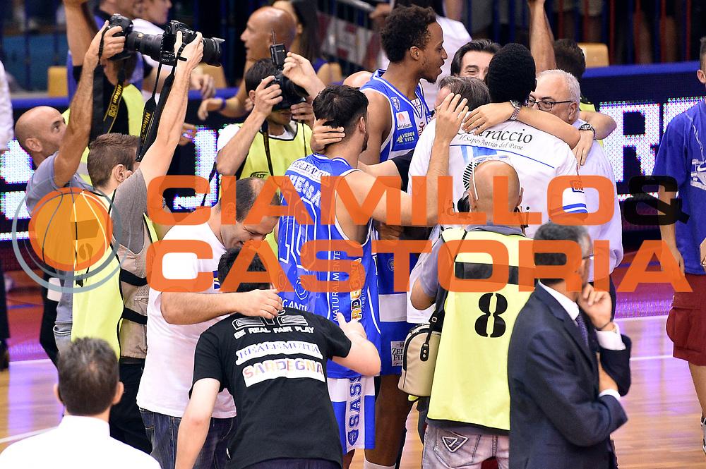 DESCRIZIONE : Campionato 2014/15 Serie A Beko Grissin Bon Reggio Emilia - Dinamo Banco di Sardegna Sassari Finale Playoff Gara7 Scudetto<br /> GIOCATORE : Massimo Chessa<br /> CATEGORIA : esultanza postgame<br /> SQUADRA : Banco di Sardegna Sassari<br /> EVENTO : Campionato Lega A 2014-2015<br /> GARA : Grissin Bon Reggio Emilia - Dinamo Banco di Sardegna Sassari Finale Playoff Gara7 Scudetto<br /> DATA : 26/06/2015<br /> SPORT : Pallacanestro<br /> AUTORE : Agenzia Ciamillo-Castoria/GiulioCiamillo<br /> GALLERIA : Lega Basket A 2014-2015<br /> FOTONOTIZIA : Grissin Bon Reggio Emilia - Dinamo Banco di Sardegna Sassari Finale Playoff Gara7 Scudetto<br /> PREDEFINITA :