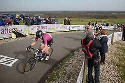 Elisa Longo Borghini reaches the top of the VAMberg for the final time at Ronde van Drenthe 2017. A 152 km road race on March 11th 2017, starting and finishing in Hoogeveen, Netherlands. (Photo by Sean Robinson/Velofocus)