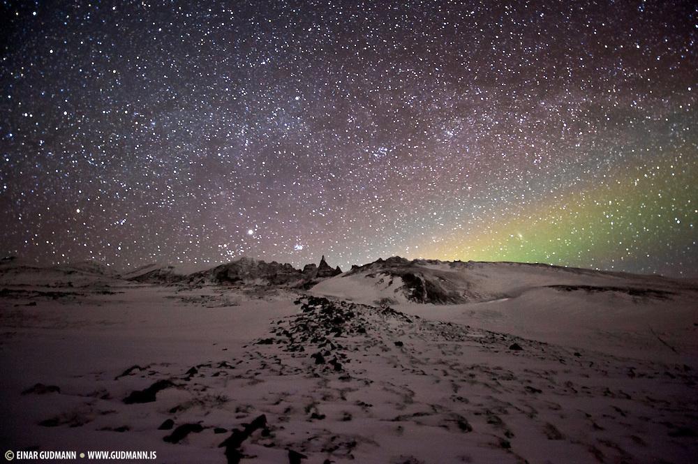 Northern lights over Hraun in Öxnadal, Iceland.