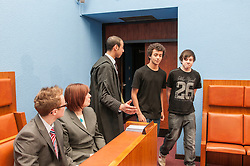 An Usher escorts witnesses in to Sheffield Magistrates' court