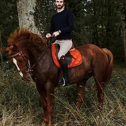 Xavier Desforges, from Maison Caulieres, riding his horse. Dolus-le-Sec, France. October 7, 2019.