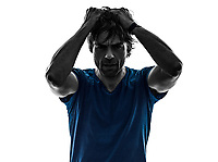one  man headache hangover despair on white background