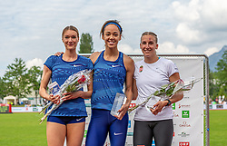 26.05.2018, Moeslestadion, Götzis, AUT, 45. Hypo Meeting Goetzis, Siebenkampf Damen, im Bild v.l. Platz 2 Laura Ikauniece (LAT), Platz 1 Katarina Johnson Thompson (GBR) und Xenia Krizsan (HUN) Platz 3 während der Siegerehrung // f.l. 2nd placed Laura Ikauniece of Latvia Katerina winner Johnson Thompson of United Kingdom third placed Xenia Krizsan of Hungary during the Winner Award Ceremony of the 45th Hypo Athletics Meeting at the Moeslestadion in Götzis, Austria on 2018/05/26. EXPA Pictures © 2019, PhotoCredit: EXPA/ Peter Rinderer