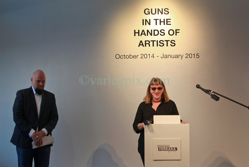 16 April 2014. Jonathan Ferrara Gallery, New Orleans, Louisiana. <br /> Artist Debora Luster and Jonathan Ferrara at the Jonathan Ferrara Gallery to announce the 'Guns In The Hands Of Artists' project where artists take parts from 190 destroyed weapons acquired by the New Orleans Police department through a buy-back program and convert them into art.  <br /> Photo; Charlie Varley/varleypix.com