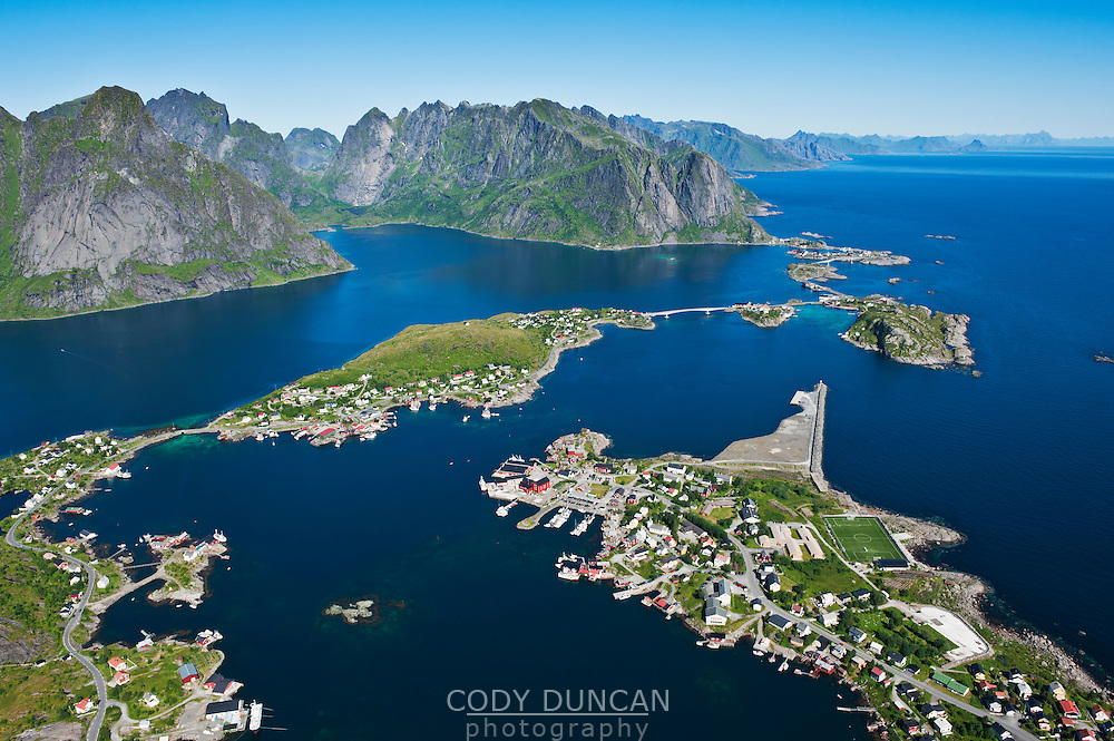 Scenic summer view from Reinebringen peak of Reine and Lofoten islands, Norway
