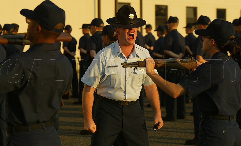 USCG instuctor LaRoche during morning drills at The United States Coast Guard Training Center Cape May, NJ.