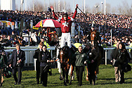 Jockey Davey Russell celebrates his win on Tiger Roll in the 5:15pm The Randox Health Grand National Steeple Chase (Grade 3) 4m 2f during the Grand National Meeting at Aintree, Liverpool, United Kingdom on 6 April 2019.