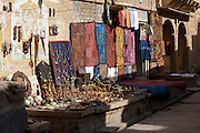 Souvenirs for sale at Jaisalmer Fort, the 'Golden Fort'. It is one of the largest forts in the world. Jaisalmer, Rajasthan, India