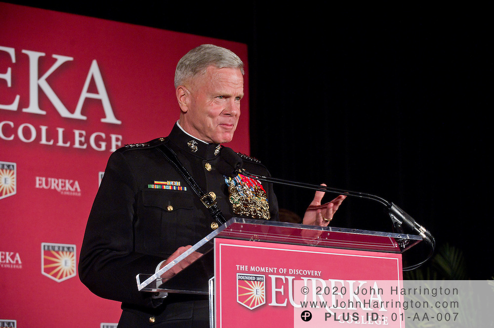Gen. James F. Amos, the 35th Commandant of the U.S. Marine Corps, speaks at the recognition ceremony for Retired General P.X. Kelley. Gen. Kelley served as the Marine Corps Commandant from July 1983 to June 1987. General Kelley was named as an honorary Ronald Reagan Fellow at the Centennial Celebration of Reagan's birthday held by his alma mater, Eureka College at a dinner event at the Reagan International Building in Washington, D.C. on November 9th, 2010.