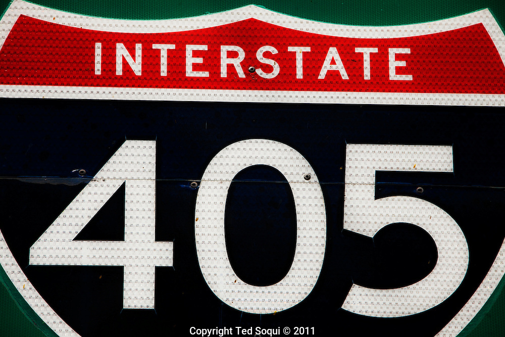 """The 405 freeway between the 10 and 101 freeway, also known as the Sepulveda pass. The 405 will be closed for two days, July 16-17, 2011, to widen the freeway and add carpool lanes. The closing of the 405 freeway was dubbed """"Carmageddon"""" and is expected to wreck havoc on L.A. traffic. Residents are warned not to drive anywhere near the closed freeway or attempt to use any shortcuts around the closure."""