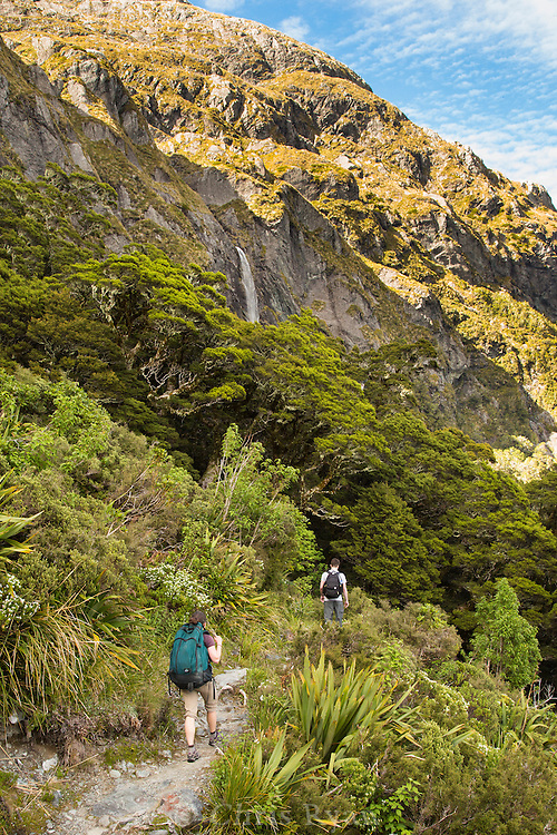 Hikers and waterfall, Routeburn Track, South Island, New Zealand