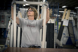 April 30, 2019 - Warroad, MN, USA - Windows are framed at the Marvin factory in Warroad, Minn., in 2017. (Credit Image: © TNS via ZUMA Wire)