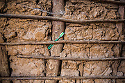 A green plastic toothbrush placed under a wooden stick which is part of the inside of a home dwelling made from traditional mud and stick in Manyara district, Tanzania, East Africa.  (photo by Andrew Aitchison / In pictures via Getty Images)