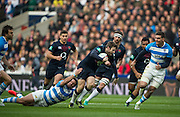 Twickenham, United Kingdom. Elliot DALY, on a run before his red card at the during the Old Mutual Wealth Series Rest Match: England vs Argentina, at the RFU Stadium, Twickenham, England, <br /> <br /> Saturday  26/11/2016<br /> <br /> [Mandatory Credit; Peter Spurrier/Intersport-images]