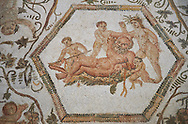 Picture of a Roman mosaics design depicting Silenus and Cupids, from the House of Sienus, ancient Roman city of Thysdrus. 3rd century AD. El Djem Archaeological Museum, El Djem, Tunisia.<br /> <br /> The Silenus Roman mosaic depicts multiple scenes : the tying up of Silenus, who is permanently drunk, and is depicted in the middle of the mosaic lying on a bed of leaves. Around him children are trying to tie his hands and legs with garlands of flowers. .<br /> <br /> If you prefer to buy from our ALAMY PHOTO LIBRARY Collection visit : https://www.alamy.com/portfolio/paul-williams-funkystock/roman-mosaic.html . Type - El Djem - into the LOWER SEARCH WITHIN GALLERY box. Refine search by adding background colour, place, museum etc<br /> <br /> Visit our ROMAN MOSAIC PHOTO COLLECTIONS for more photos to download as wall art prints https://funkystock.photoshelter.com/gallery-collection/Roman-Mosaics-Art-Pictures-Images/C0000LcfNel7FpLI