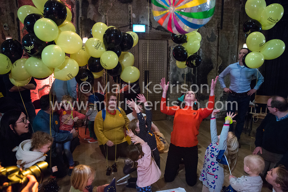 London, UK. 9 November, 2019. Jo Swinson, leader of the Liberal Democrats, plays with Liberal Democrat activists' children at the Rally for the Future in Battersea in order to set out the party's vision to Stop Brexit and Build A Brighter Future.