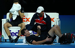 November 15, 2017 - London, United Kingdom - Jamie Murray (GBR) getting treatment.during Day Four of the Nitto ATP World Tour  Finals played at The O2 Arena, London on November 15 2017  (Credit Image: © Kieran Galvin/NurPhoto via ZUMA Press)